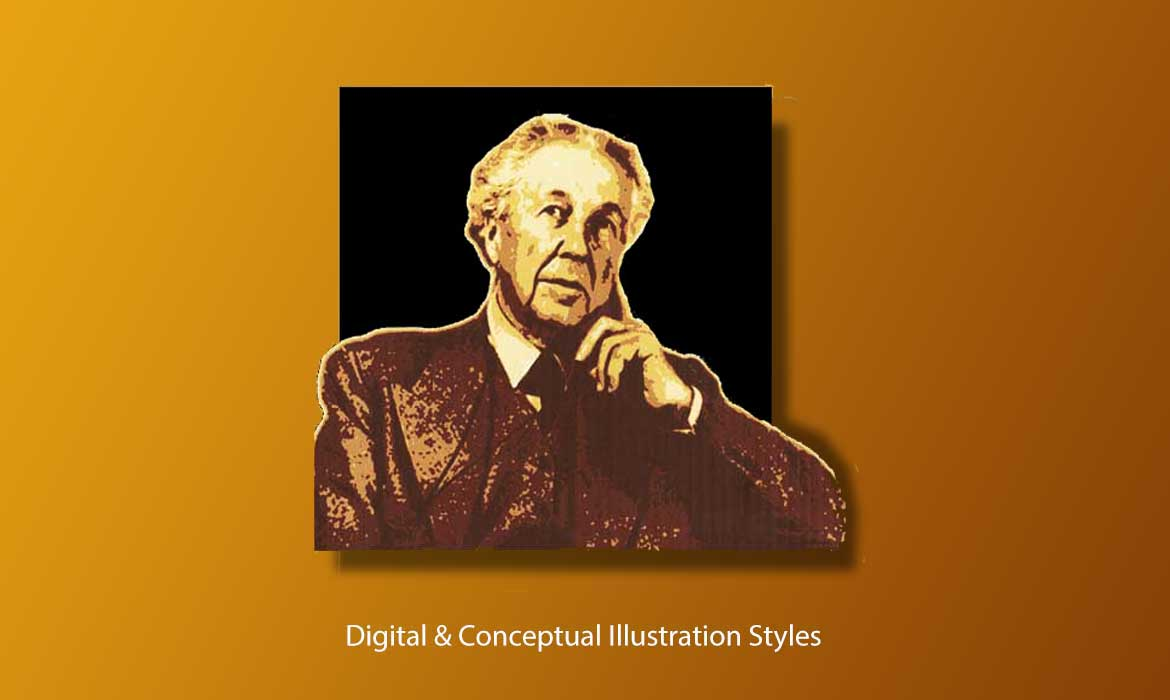 digital style illustration of Frank Lloyd Wright